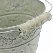 Secchio decorativo, bianco lavato con manico Ø20,5cm, fioriera, decoro in metallo