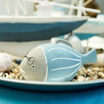 Pesce decorativo con bicchieri blu bianco 15,5 / 14,5 cm 2 pezzi