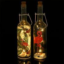 Bottiglia decorativa LED Flamingo 37,5cm bianco caldo 2 pezzi