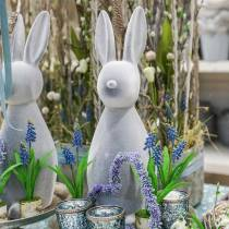 Coniglietto decorativo grigio floccato 47 cm Decorazione coniglietto pasquale Pasqua