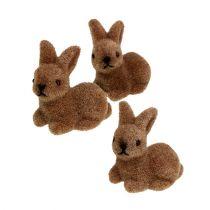 Coniglietti decorativi 5cm floccati marrone 16 pezzi.