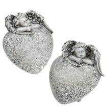 Cuore decorativo con angelo grigio 10,5 cm 2 pezzi