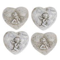 Mini cuori decorativi con angeli 4 cm grigio 8 pezzi