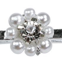 Clip deco con fiori di perle 2,5 cm 6 pezzi