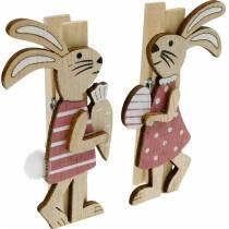 Clip decorative coniglietti Coniglietti pasquali rosa, legno bianco Decorazione pasquale 4pz