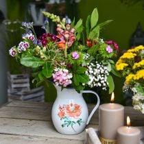 Brocca decorativa, aspetto vintage vaso di fiori, brocca smaltata con motivo a rose H19cm