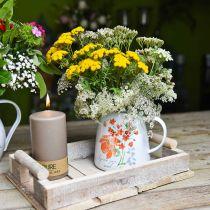 Brocca decorativa con rose selvatiche, brocca smaltata, vaso in metallo look vintage H12.5cm