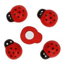 Coccinella decorativa per attaccare 2,5 cm rosso 72 pezzi