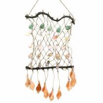 Rete decorativa per appendere con conchiglie naturali 25 × 45 cm