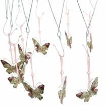 Anello decorativo per appendere Ø30cm appendiabiti a soffitto lavato con corona di erbe aromatiche