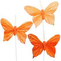 Farfalla decorativa arancione 12 pezzi