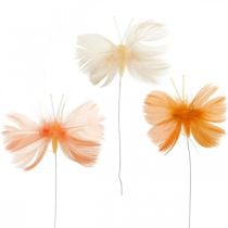 Farfalle nei toni dell'arancio, decorazione primaverile farfalle primaverili su filo 6pz