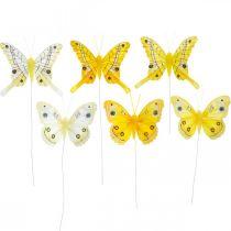 Farfalle decorative farfalla gialla piuma su filo 7,5 cm 6 pezzi