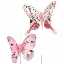 Farfalle decorative farfalla piuma rosa su filo 7,5 cm 6 pezzi
