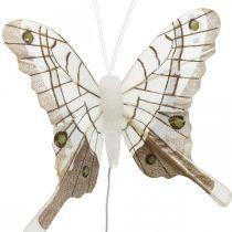 Farfalle decorative bianche, farfalla con piume marroni su filo 7,5 cm 6 pezzi