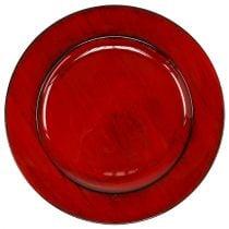 Piatto decorativo in plastica Ø28cm rosso-nero