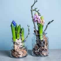 Vaso in vetro a rombi, lanterna, vaso in vetro decorativo, decorazione da tavola 2pz
