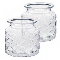 Lanterna decorativa motivo a rombi, vaso di vetro, vaso di vetro, decorazione candela 2 pezzi