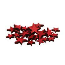 Stelle di legno sparse rosse 3-5 cm 72 pezzi