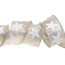 Nastro natalizio con motivo a stella natura, argento 40mm 15m