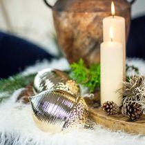 Ghianda decorativa in ceramica dorata decorazione da tavola Natale 13,5 cm 2 pezzi