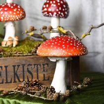 Agarico decorativo rosso, bianco Decorazione da tavola autunnale fungo Ø16cm H19cm