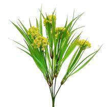 Erba decò con fiori gialli, verdi L30cm