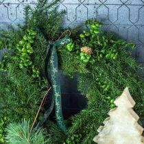 Ghirlanda decorativa grandi rami di conifere, pigne e bosso verde 70cm