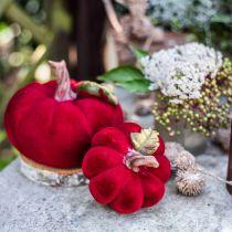 Deco zucca rossa decorazione da tavola autunno poliresina 10,5 × 9 cm 2 pezzi