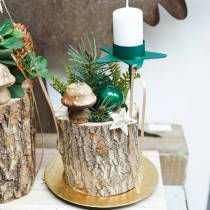Funghi decorativi in legno natura 5 cm 6 pezzi