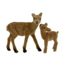 Cervo decorativo 10cm con set floccato marrone fulvo