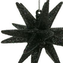 Addobbi natalizie Stella Nero scintillante 7,5cm 8 pezzi