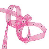 Nastro regalo per la decorazione Pink con motivo floreale 15mm 20m