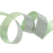 Nastro regalo per la decorazione verde chiaro con mica 10mm 150m