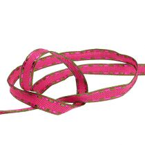 Nastro regalo per la decorazione Pink con bordo filo 15mm 15m