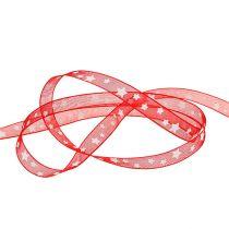 Nastro decorativo rosso con motivo a stella 10mm 20m