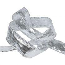 Nastro decorativo argento con bordo filo 25m