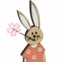Figura decorativa Coniglietto pasquale arancione, coniglietto in legno bianco Decorazione pasquale 6 pezzi