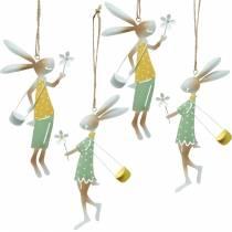 Figure decorative coppia di coniglietti, decoro in metallo, coniglietti pasquali da appendere, decoro primaverile 4pz