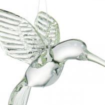 Colibrì decorativo, decorazione in vetro, uccello del paradiso, ciondolo in vetro, uccello decorativo