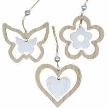 Appendino decorazione cuore fiore farfalla natura, decoro legno argento 6pz