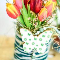 Decorazione da appendere cuore fiore farfalla bianco, verde decoro primavera legno 6pz