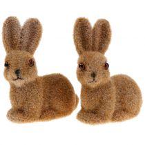 Bunny per la decorazione floccato marrone 8,5 cm 6 pezzi