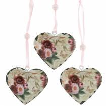Cuore decorativo peonie cuore nostalgico in metallo da appendere 6 pezzi