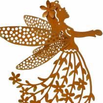Spina decorativa fiore elfo, primavera, decorazione in metallo, fata su un bastone, patina