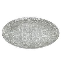 Piatto decorativo argento con ornamento Ø32cm