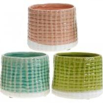 Vasi decorativi con motivo a cesto, fioriera, fioriera in ceramica menta / verde / rosa Ø13cm 3 pezzi