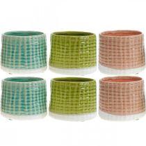 Portavaso in ceramica, mini portavaso, decoro in ceramica, vaso decorativo, motivo cestino menta / verde / rosa Ø7,5cm 6 pezzi
