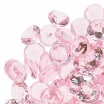 Pietre decorative diamante acrilico rosa chiaro Ø1,2 cm 175 g per decorazioni di compleanno