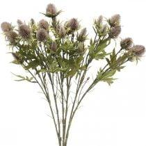 Ramo viola di cardo artificiale 10 teste di fiori 68 cm 3 pezzi